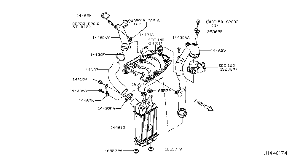 14461 Bv80b Genuine Nissan 14461bv80b Charge Air Cooler