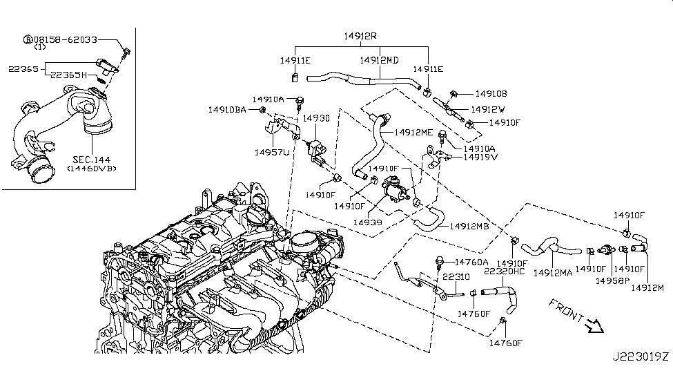 2015 nissan juke engine control vacuum piping