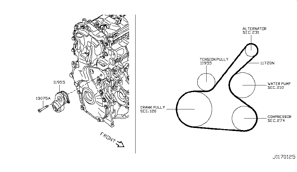 2012 nissan juke engine diagram 11720-1kc0a | genuine nissan #117201kc0a belt-fan nissan juke wire diagram