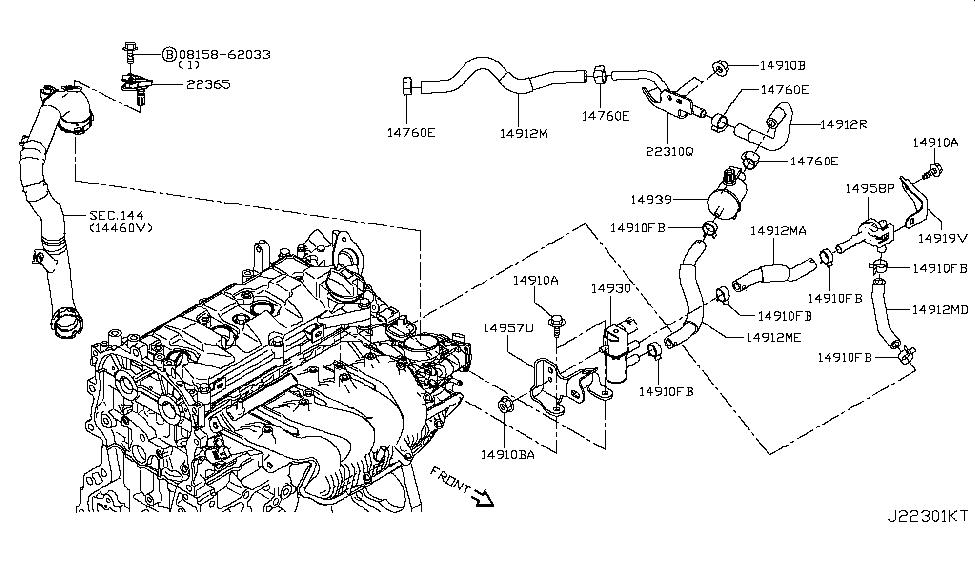14916 3ym0a genuine nissan parts2015 nissan juke engine control vacuum piping