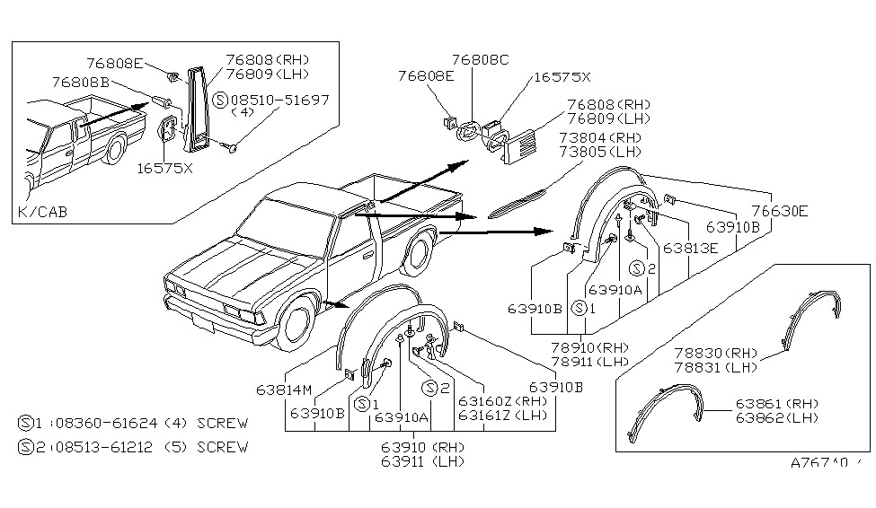 1986 Nissan 720 Pickup Body Side Fitting