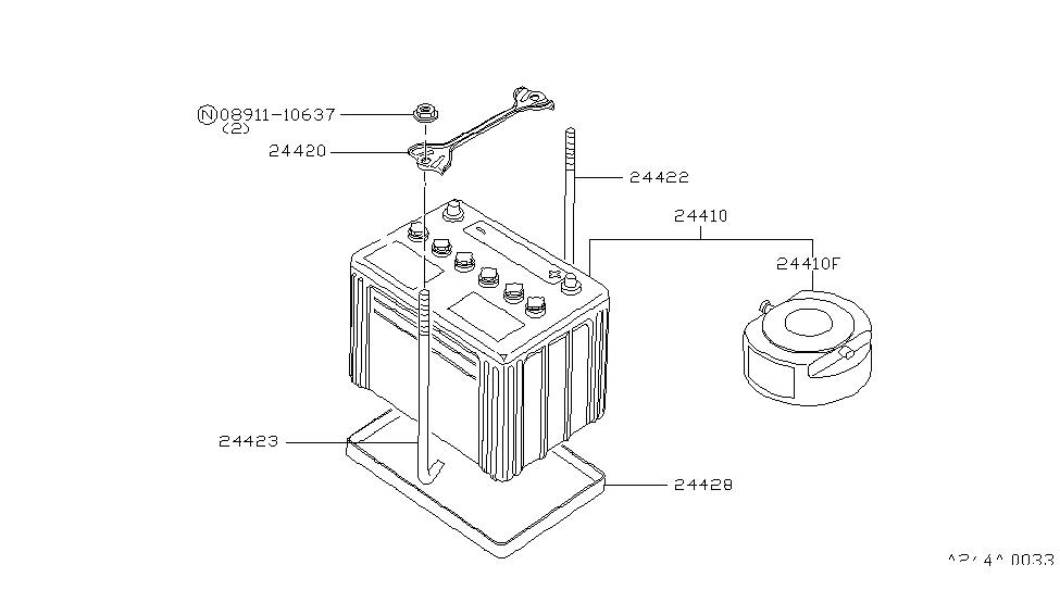 1986 Nissan 720 Pickup Battery & Battery Mounting