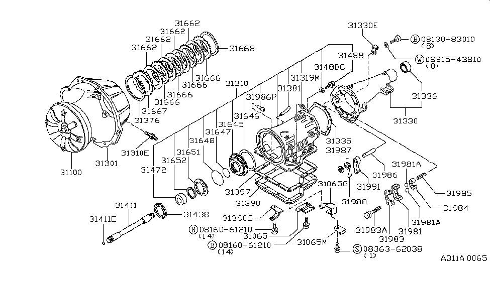 1984 nissan 720 pickup torque converter housing  u0026 case