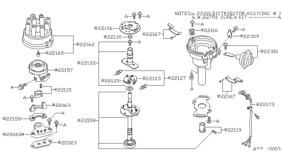 22100 10w24 genuine nissan 2210010w24 distributor rh nissanpartsdeal com nissan d21 distributor diagram nissan c22 distributor diagram