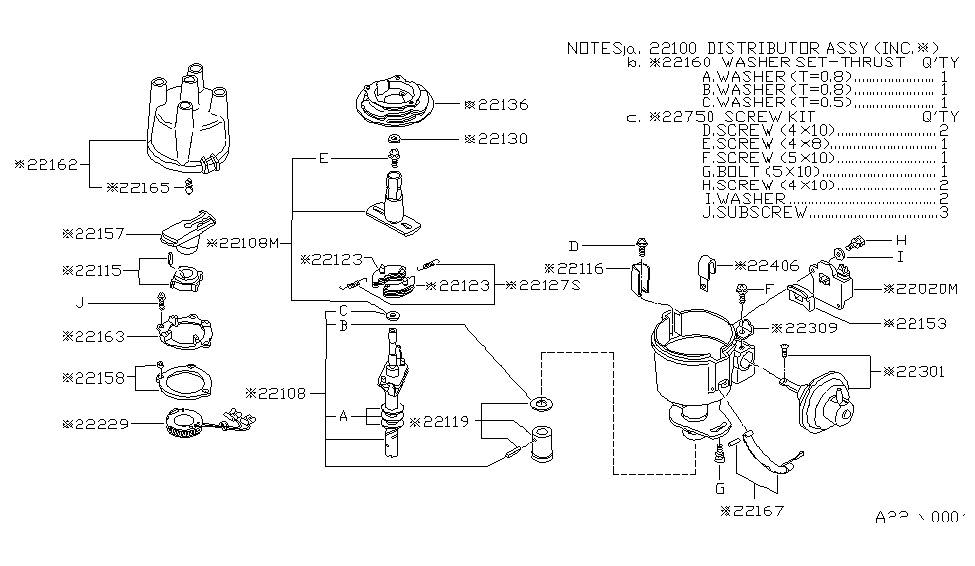 22100 b9802 genuine nissan 22100b9802 distributor rh nissanpartsdeal com nissan 1400 distributor wiring diagram 1997 nissan pickup distributor diagram