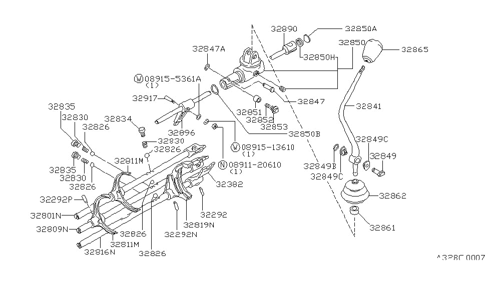1986 Nissan 720 Pickup Transmission Shift Control