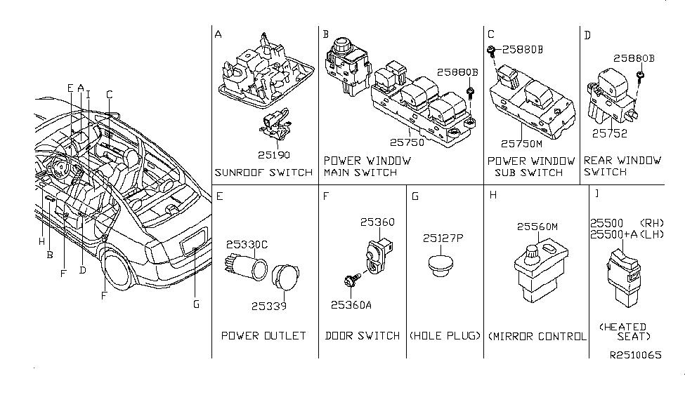 2009 nissan altima power window switch wiring 25401 ze80a genuine nissan parts  25401 ze80a genuine nissan parts