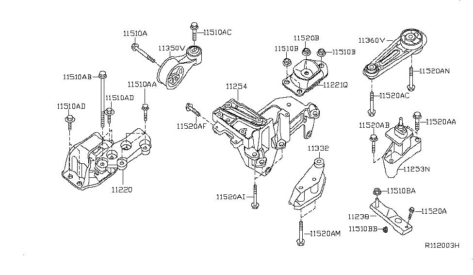 2009 nissan sentra engine & transmission mounting