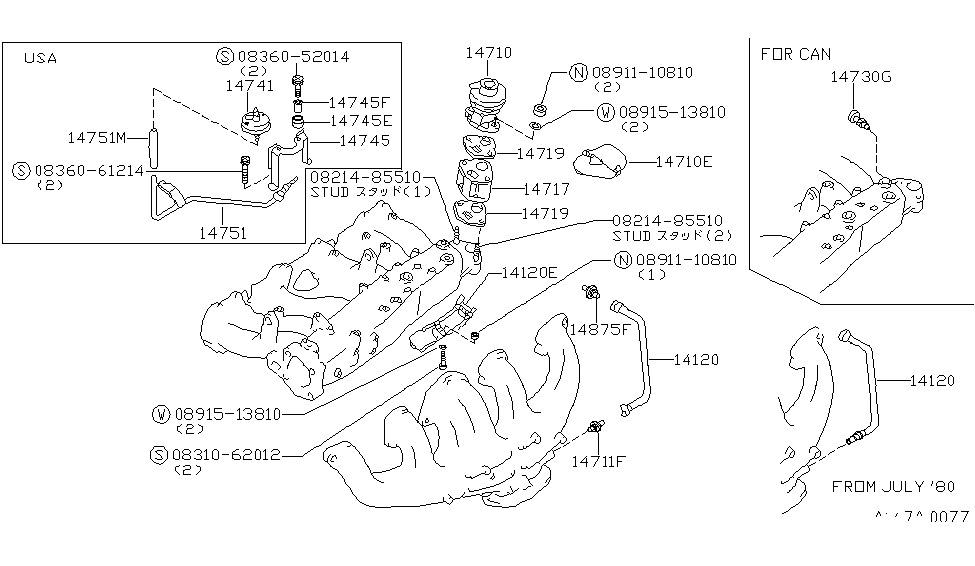 datsun 280zx engine diagram 1982 280zx wiring diagram 14710-p8300 | genuine nissan #14710p8300 egr valve