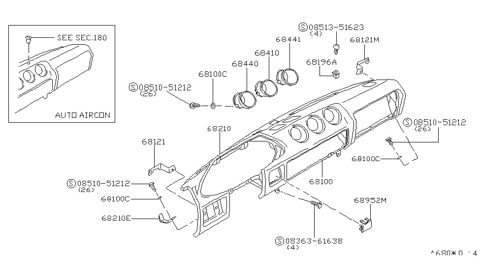 1980 Nissan 280ZX Instrument PanelPad Cluster Lid