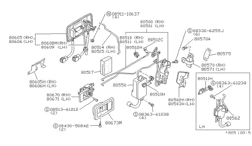1988 nissan 300zx front door lock & handle