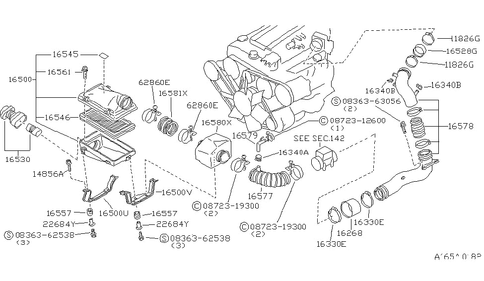 16581 01p00 genuine nissan 1658101p00 hose air cleaner Mitsubishi OEM Parts Diagram 1986 nissan 300zx air cleaner
