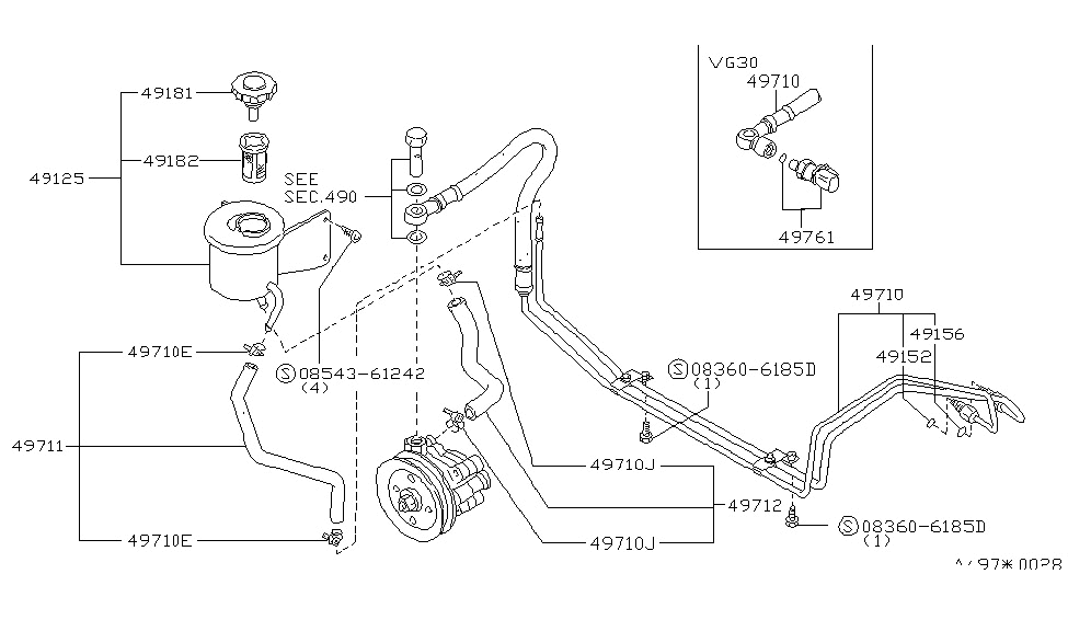 49180 22p20 genuine nissan 4918022p20 tank reservoir Toyota 4Runner Diagrams 1989 nissan 300zx power steering piping