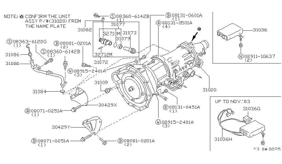 31020 x8101 genuine nissan 31020x8101 transmission auto rh nissanpartsdeal com nissan transmission parts diagram nissan murano transmission diagram