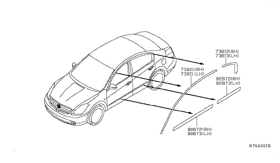2007 Nissan Altima Sedan Body Side Molding - Nissan Parts Deal 6b940502316