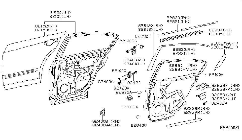 2010 Nissan Altima Sedan Rear Door Panel & Fitting