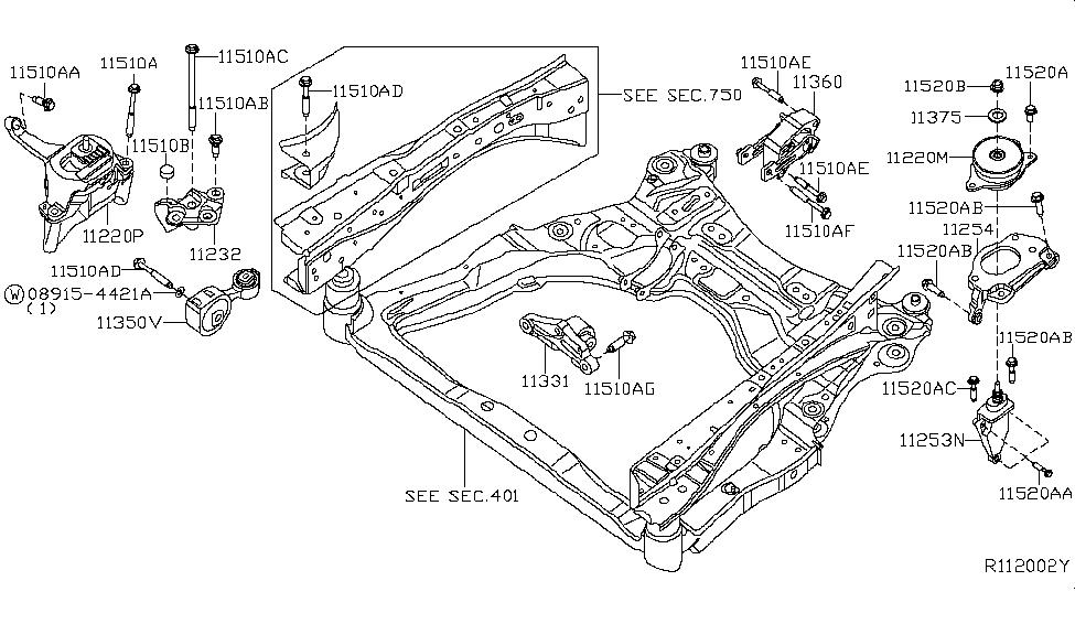 2007 nissan altima sedan engine & transmission mounting  2007 nissan altima sedan engine & transmission mounting thumbnail 1