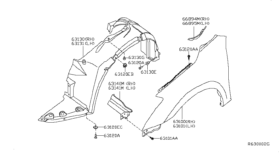 2010 Nissan Altima Sedan Front Fender & Fitting