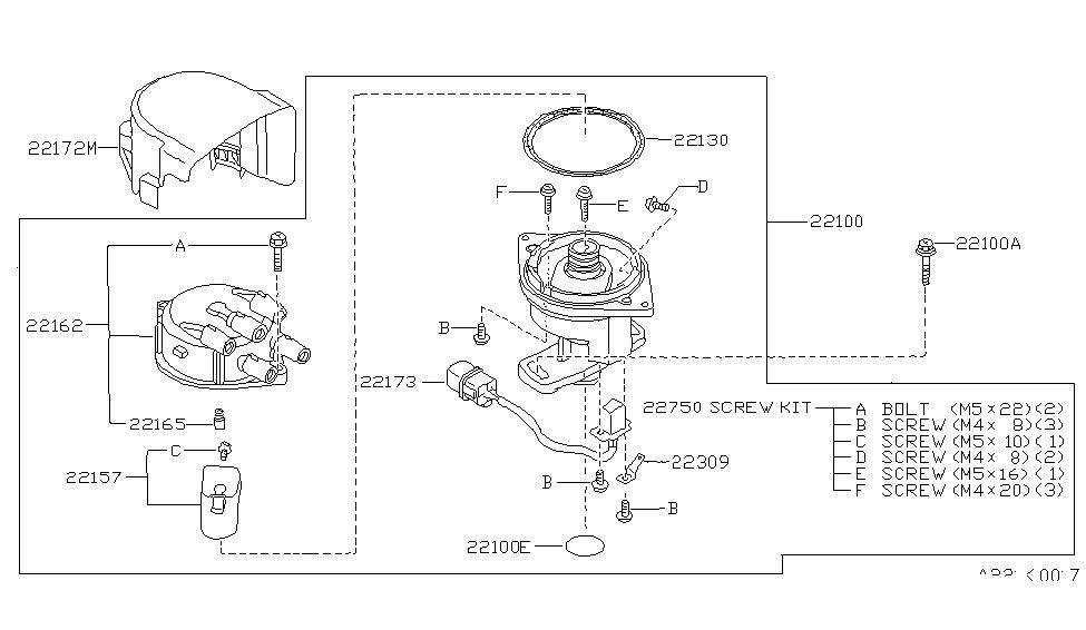 22162 53j00 genuine nissan 2216253j00 cap ass dist rh nissanpartsdeal com nissan ka24 distributor wiring diagram 1997 nissan pickup distributor diagram