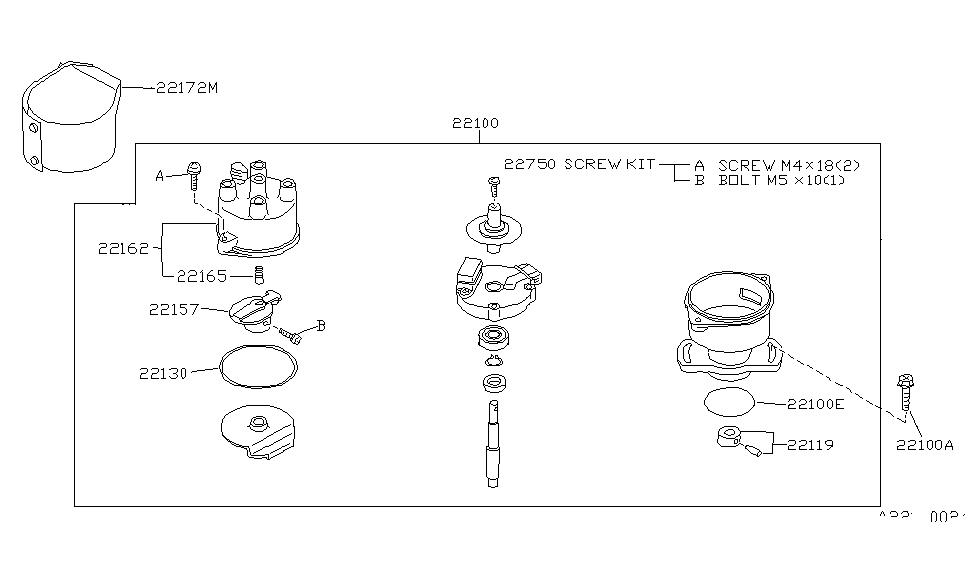 1994 Nissan Sentra Distributor & Ignition Timing Sensor on