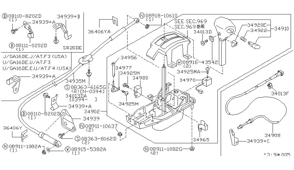 3493592Y15   Genuine    Nissan     3493592Y15 CABLE CONTROL