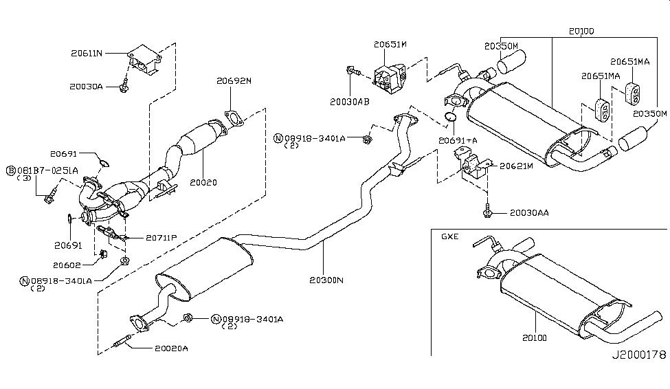 2007 Nissan Murano Exhaust Tube Muffler Nissan Parts Deal