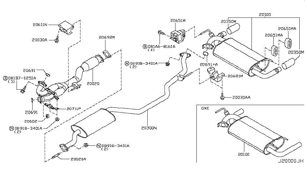 2007 nissan murano exhaust tube muffler nissan parts deal rh nissanpartsdeal com nissan pathfinder exhaust system diagram 2004 nissan pathfinder exhaust system diagram