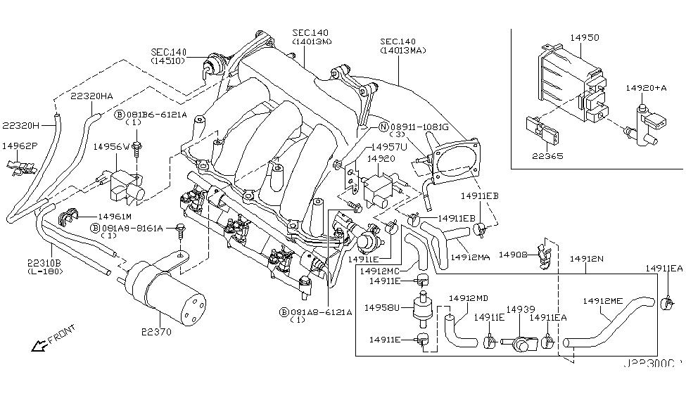 2006 Nissan Murano Engine Control Vacuum Piping