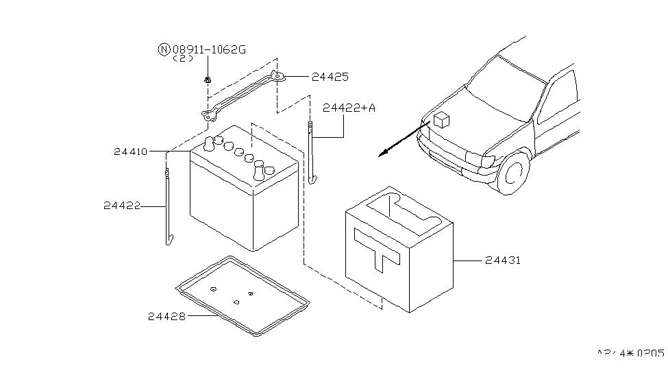 2001 nissan pathfinder battery battery mounting rh nissanpartsdeal com