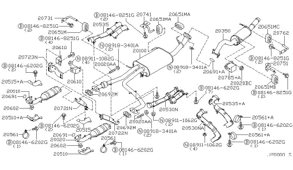2003 nissan pathfinder exhaust tube &