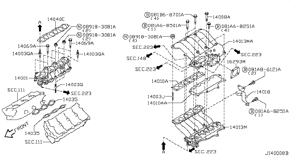 1403538U01 Genuine Nissan GASKET-MANIFOLD 14035-38U01