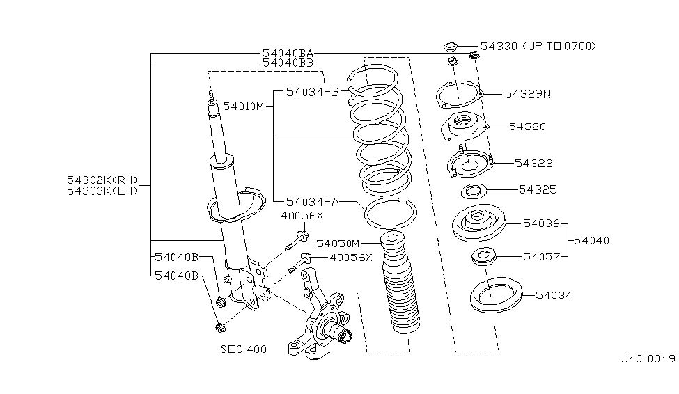 2002 Nissan Pathfinder Front Suspension - Diagram 1