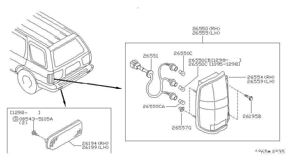 1998 Nissan Pathfinder Rear Combination Lamp - Nissan ...