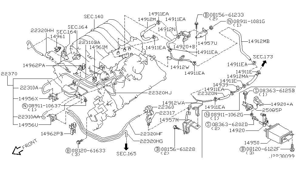 2003 nissan pathfinder engine control vacuum piping rh nissanpartsdeal com