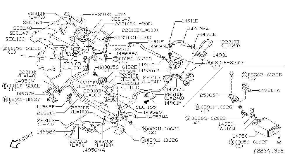 1998 Nissan Pathfinder Engine Control Vacuum Piping on