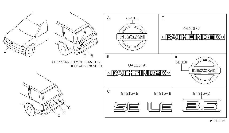 Nissan Genuine 90896-4W000 Emblem