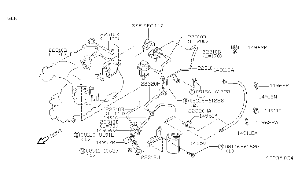 1997 nissan pathfinder engine control vacuum piping rh nissanpartsdeal com  1997 nissan pathfinder engine parts diagram