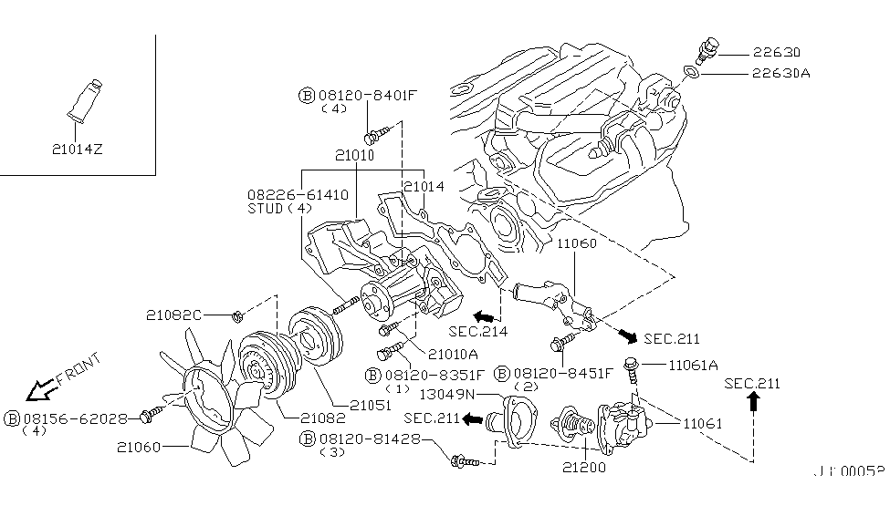 1999 Nissan Pathfinder Water Pump, Cooling Fan & Thermostat