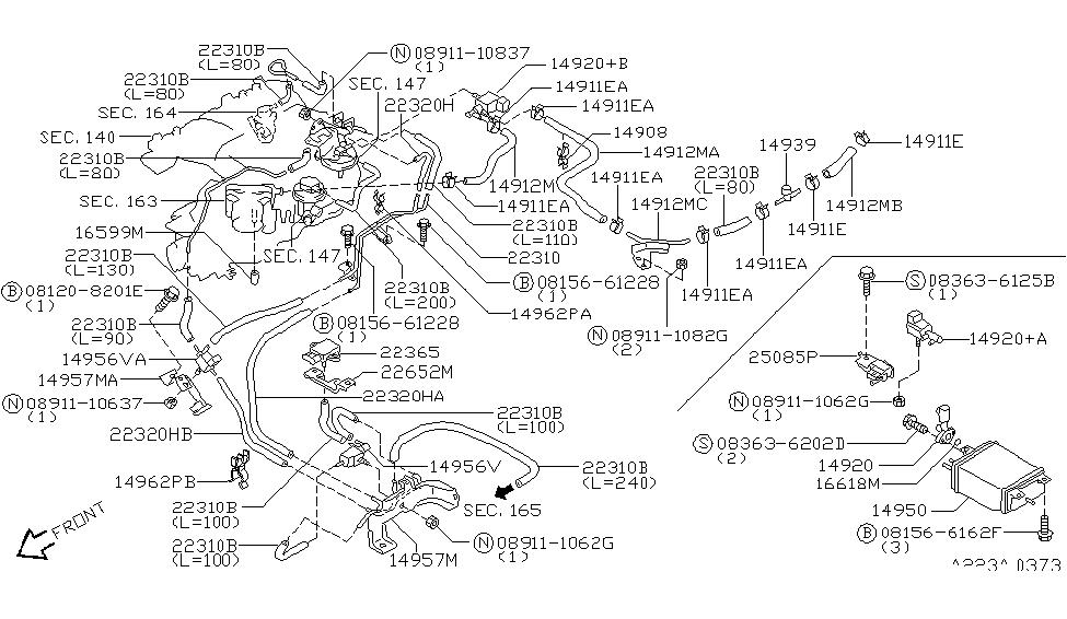 1999 Nissan Pathfinder Engine Control Vacuum Piping