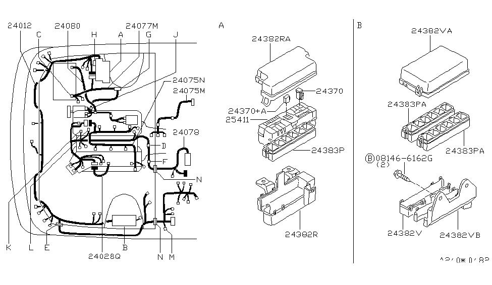 24075-0W000 | Genuine Nissan #240750W000 HARNESS-ENGINE,SUB