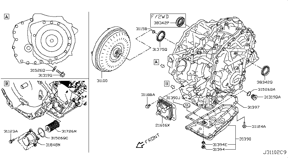 2016 Nissan Murano Base Torque Converter,Housing & Case
