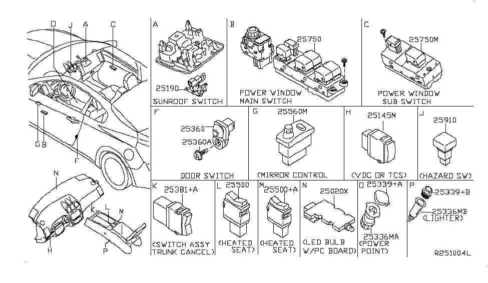 2009 nissan altima power window switch wiring 25401 jb100 genuine nissan parts  25401 jb100 genuine nissan parts
