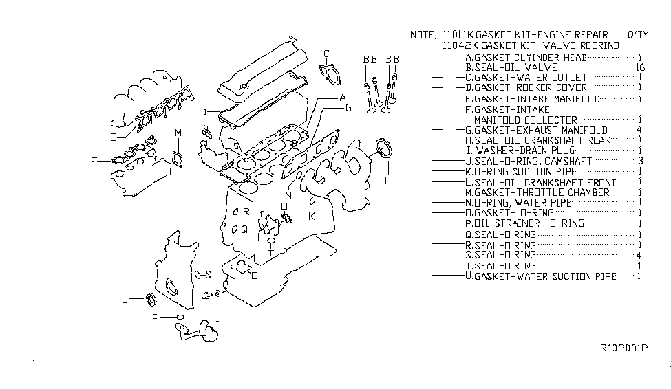 2008 Nissan Altima Coupe Engine Gasket Kit