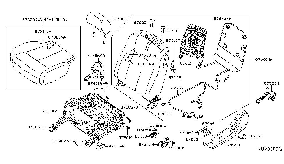 Genuine Nissan Parts Knob Switch Front Seat Reclini 87063-JB07B