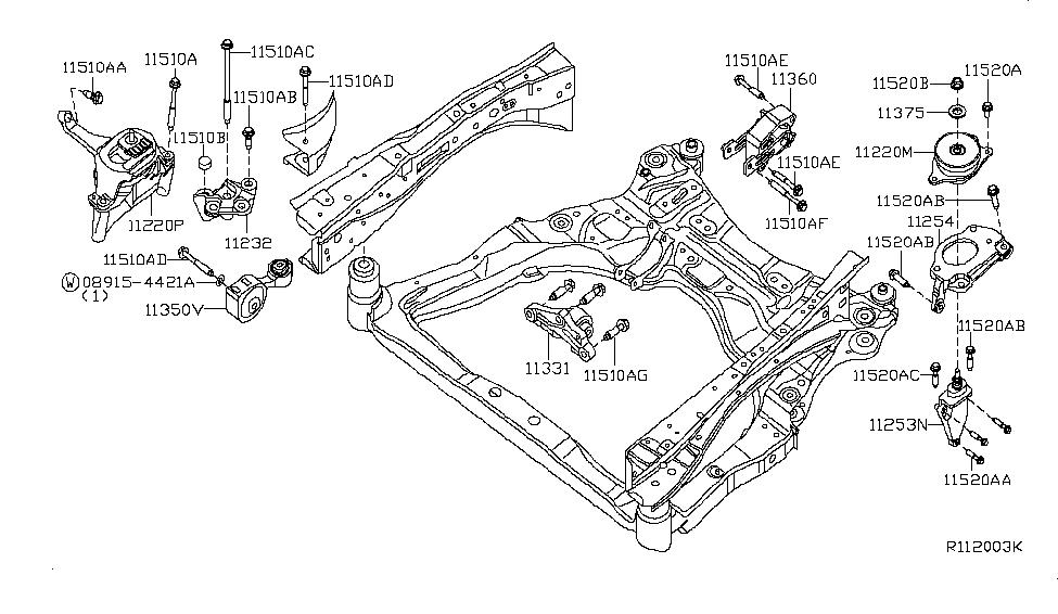 2008 nissan altima coupe engine & transmission mounting