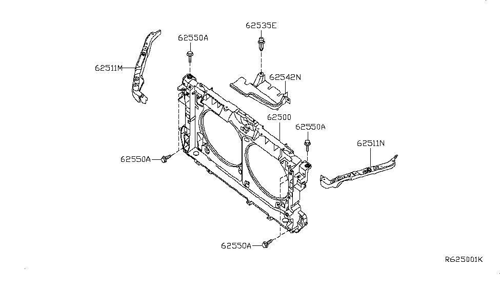 Genuine Nissan Parts 62512-JA030 Radiator Support