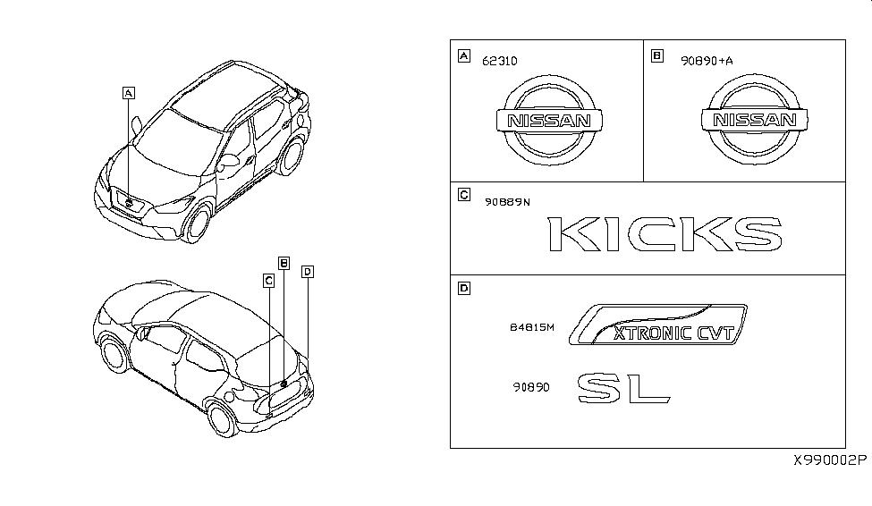 2019 Nissan Kicks Emblem & Name Label - Nissan Parts Deal
