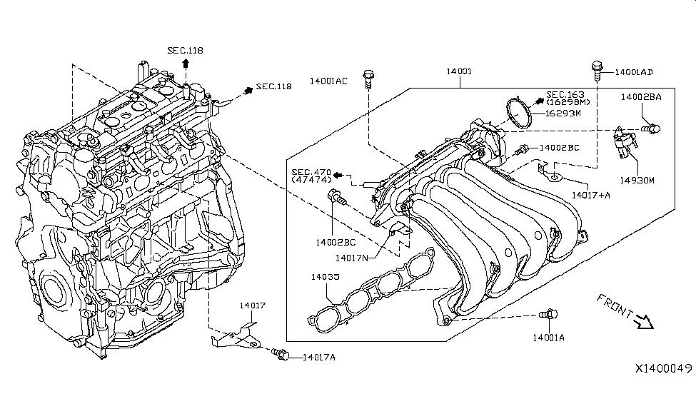 14035 1hk0a genuine nissan 140351hk0a gasket manifold rh nissanpartsdeal com 2014 nissan versa engine diagram 1991 Nissan Manual Transmission Diagram