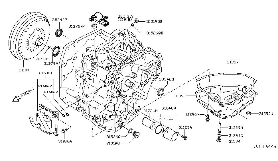 31390 3mx0a genuine nissan 313903mx0a pan assy oil rh nissanpartsdeal com Nissan Ecu Wiring Harness Diagram 1991 Nissan Manual Transmission Diagram