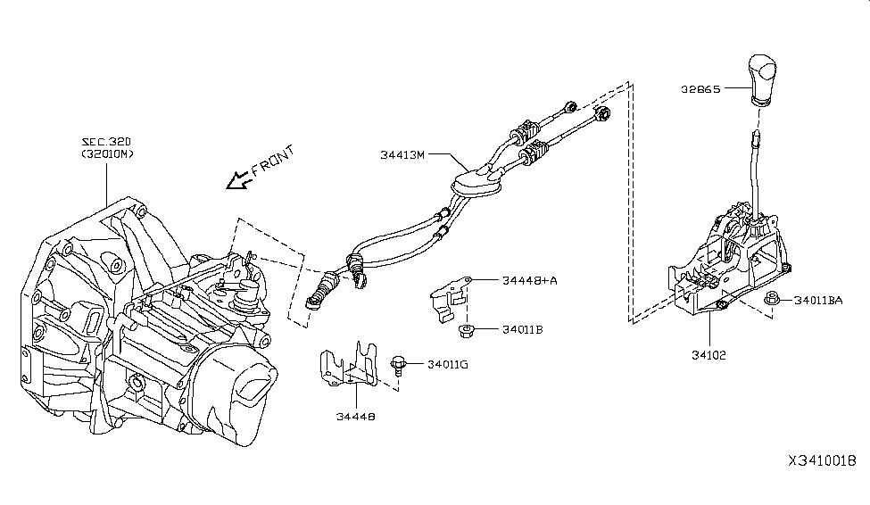 2012 Nissan Versa Sedan Transmission Control & Linkage
